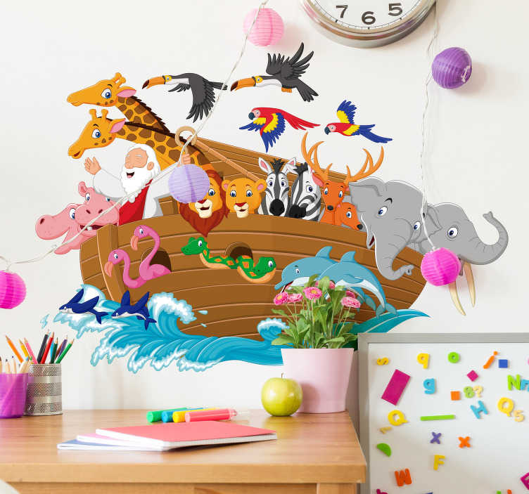 TenStickers. Noah´s Ark Wall Art Sticker. Add some of Noah´s animals to your home with this fantastic wall art decal! Anti-bubble vinyl.