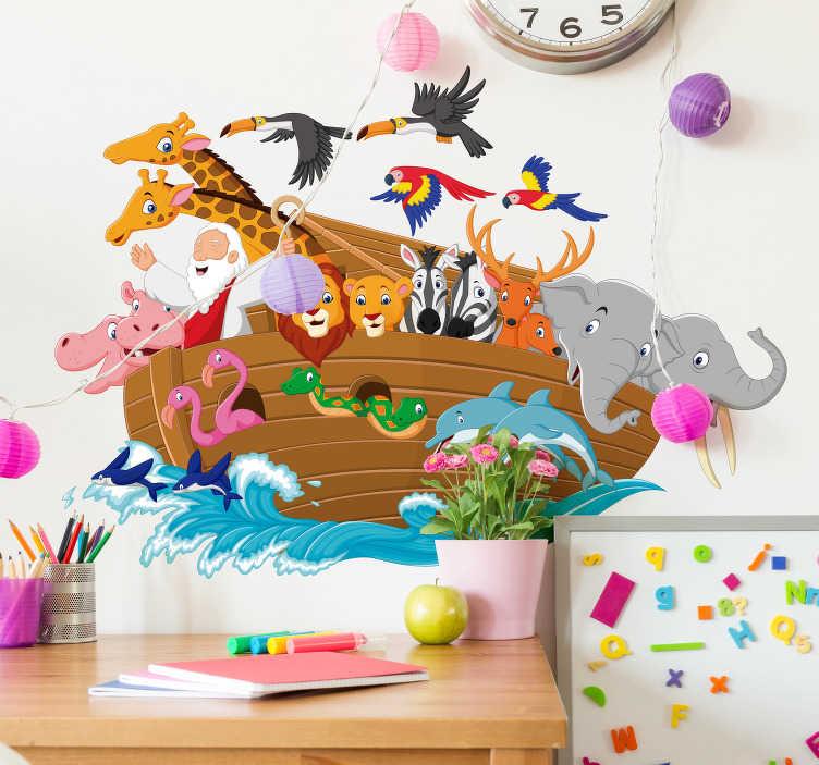 TenVinilo. Vinilo pared El Arca de Noé. Colorido vinilo adhesivo para habitación infantil con un original y divertido diseño del Arca de Noé. Compra Online Segura y Garantizada.