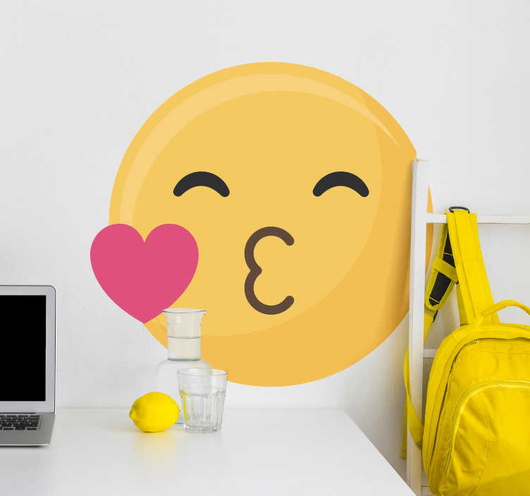 TenStickers. Kiss Emoji Love Sticker. Add a kiss to your room with this superb emoji themed wall art sticker! Anti-bubble vinyl.