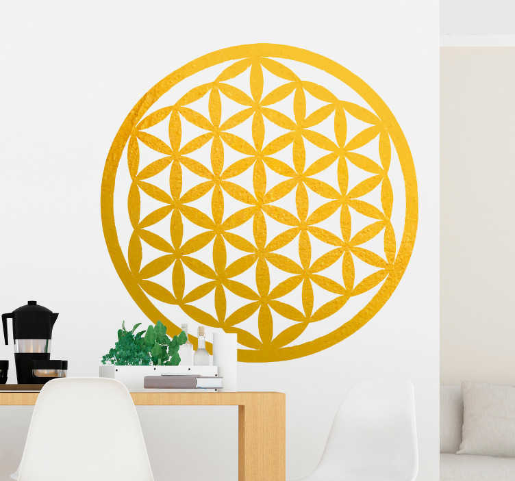 TenStickers. Abstracte muursticker bloem van het leven. Decoreer uw woning middels deze decoratie sticker met het ontwerp van de bloem van het leven in gouden matte kleur. Eenvoudig aan te brengen.