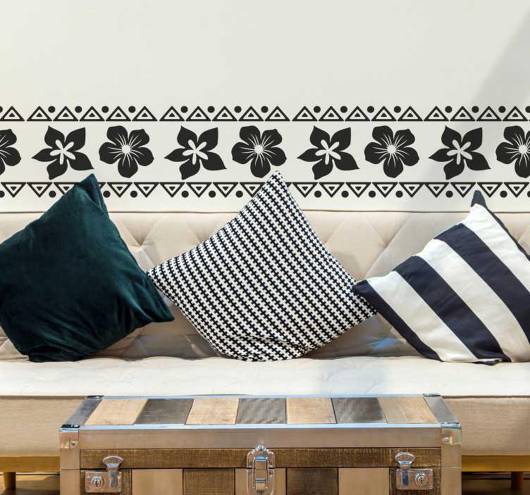 TenVinilo. Vinilo pared Flor hawaiana. Cenefa adhesiva monocolor con un diseño de flores hawaianas y triángulos estilo étnico-escandinavo. Promociones Exclusivas vía e-mail.