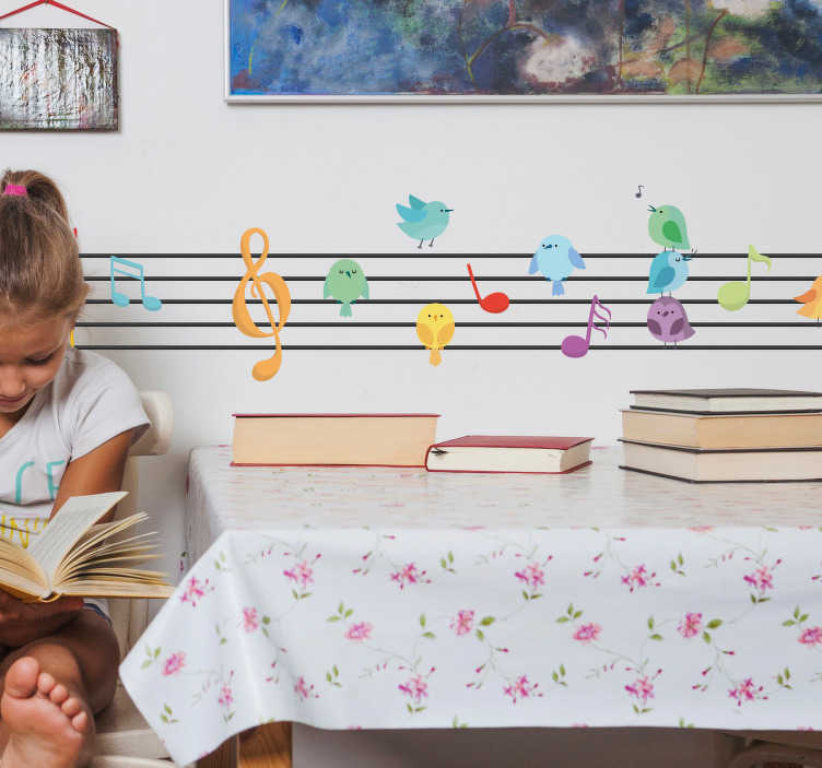 TenStickers. Music Page with Notes Wall Sticker. Add some musical notes to your home with this fantastically fun wall decal! Anti-bubble vinyl.