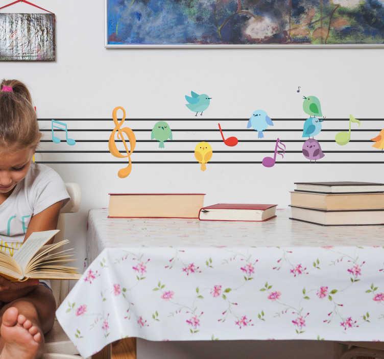 TenVinilo. Vinilo infantil Pentagrama con notas. Vinilo adhesivo infantil con un fantástico diseño de un pentagrama con notas y pájaros de colores sobre este. Compra Online Segura y Garantizada.