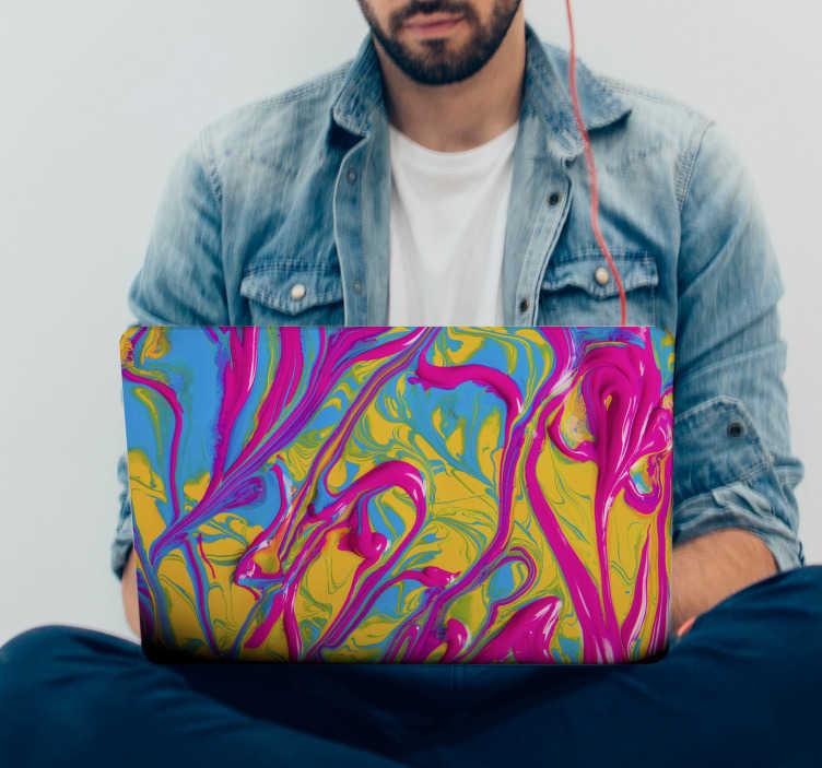 TenVinilo. Vinilo para portátiles Pintura abstracta. Original y colorida pegatina adhesiva para portátil con estampado de pintura en colores azul, amarillo y rosa. Precios imbatibles.