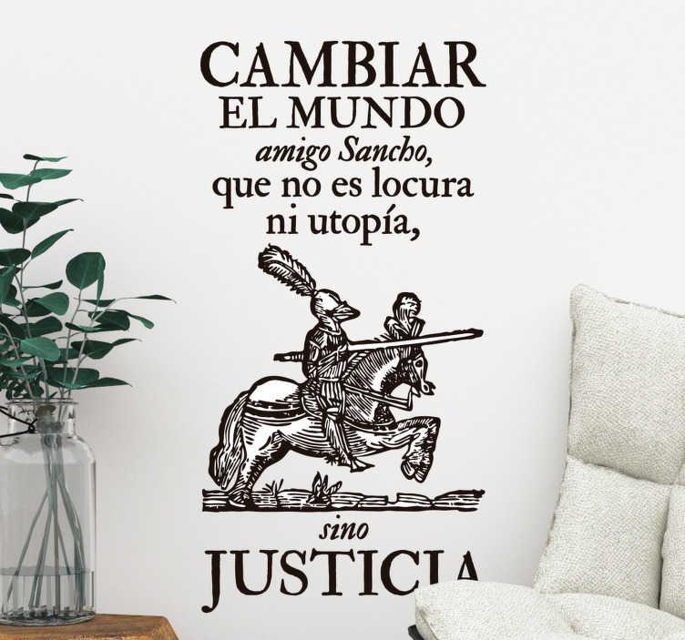 TenVinilo. Vinilo pared Sancho panza refrán. Original vinilo adhesivo ideal para los amantes de la literatura con una de las frases de la obra del Quijote. Descuentos para nuevos usuarios.