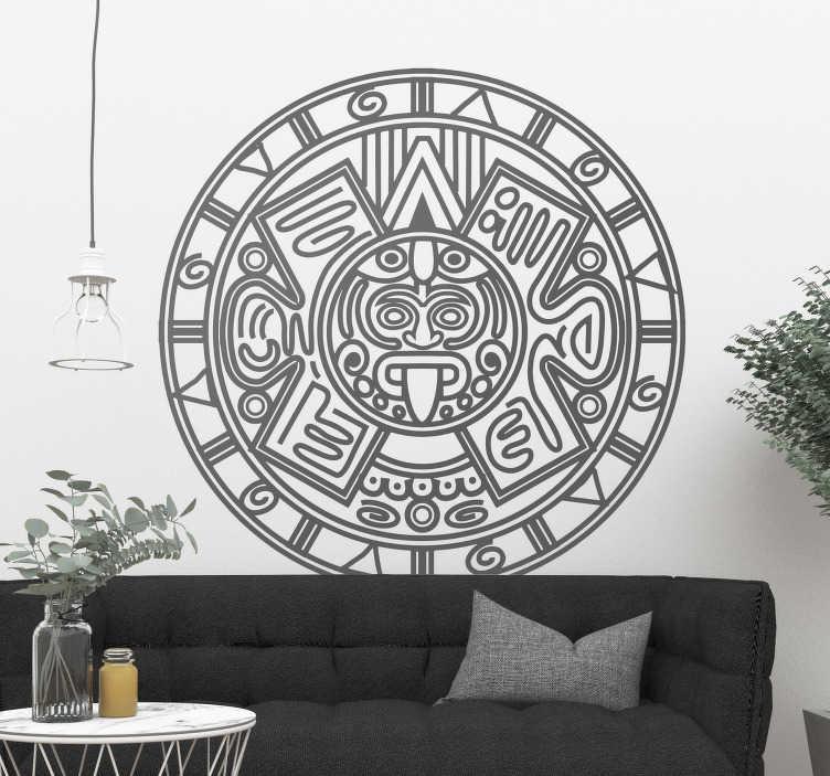 TenVinilo. Vinilo pared Calendario maya. Vinilo adhesivo ideal para darle un toque cultural a la estancia formado por la ilustración del Calendario Maya. Vinilos Personalizados a medida.