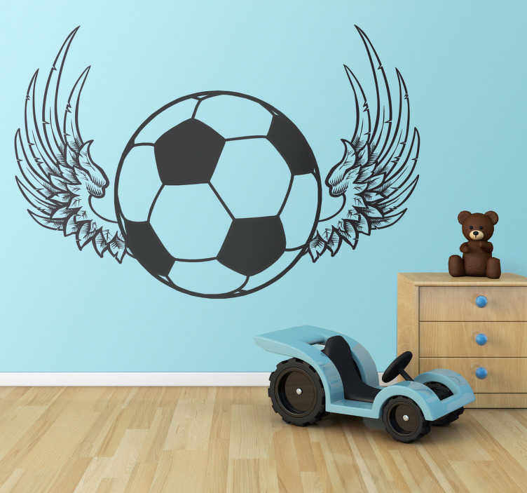 TenStickers. Autocollant ballon foot ailé. Stickers décoratif représentant un ballon de foot avec des ailes. Sélectionnez les dimensions de votre choix pour personnaliser le stickers à votre convenance.Super idée déco pour la chambre des garçons.
