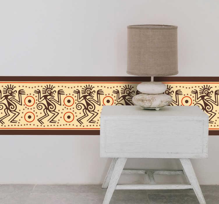 TenVinilo. Vinilo pared Icono maya. Original cenefa adhesiva personalizable de temática Maya en tonos beige, naranja y marrón. Atención al Cliente Personalizada.