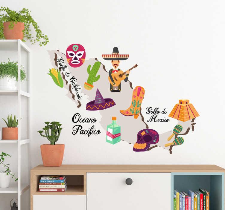 TenVinilo. Vinilo pared mapa elementos tradicionales. Original vinilo adhesivo formado por el diseño del mapa de México, el cual está compuesto de elementos típicos de cada zona. Precios imbatibles.