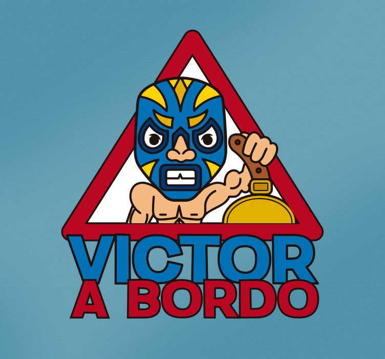 """TenVinilo. Pegatina bebé a bordo Máscara lucha libre. Original pegatina para vehículo con la ilustración de un personaje de lucha libre acompañado del texto """"a bordo"""". +20 Colores Disponibles."""