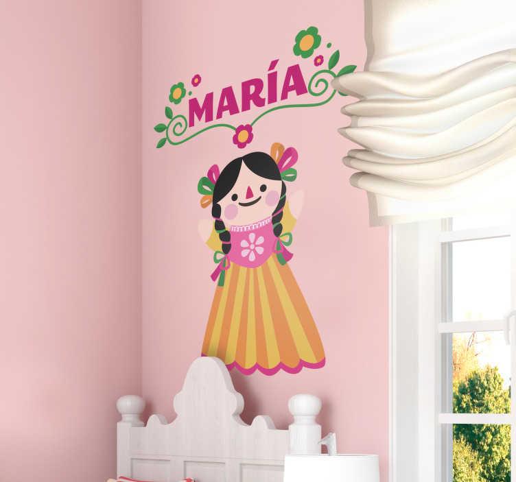 TenVinilo. Vinilo infantil muñeca Mexicana personalizable. Original pegatina adhesiva personalizable ideal para habitación infantil formada por la ilustración de una muñeca Mexicana. Precios imbatibles.