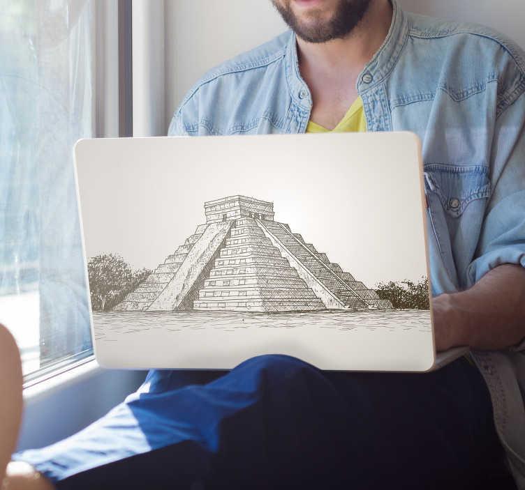 TenVinilo. Pegatina para portátiles pirámide Chichen Itza. Original pegatina adhesiva para portátil o tablet con la ilustración de la pirámide Chichén Itzá. Vinilos Personalizados a medida.