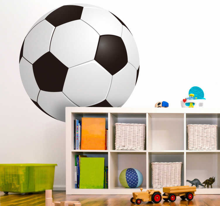 TenStickers. Kids 3d fodbold klistermærke. Kids klistermærker - illustration af en sort og hvid fodbold. Ideal til at dekorere børns værelser og at introducere dit barn til fodboldens verden.