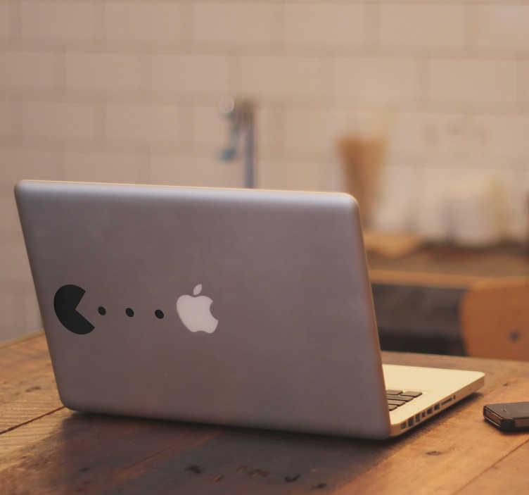 TenStickers. Wandtattoo Videospiel Pacman Apple. Verziere dein portables Gerät mit diesem einzigartigen Laptop Aufkleber, der Heiterkeit und Abwechslung vermittelt. Versiertes Designerteam