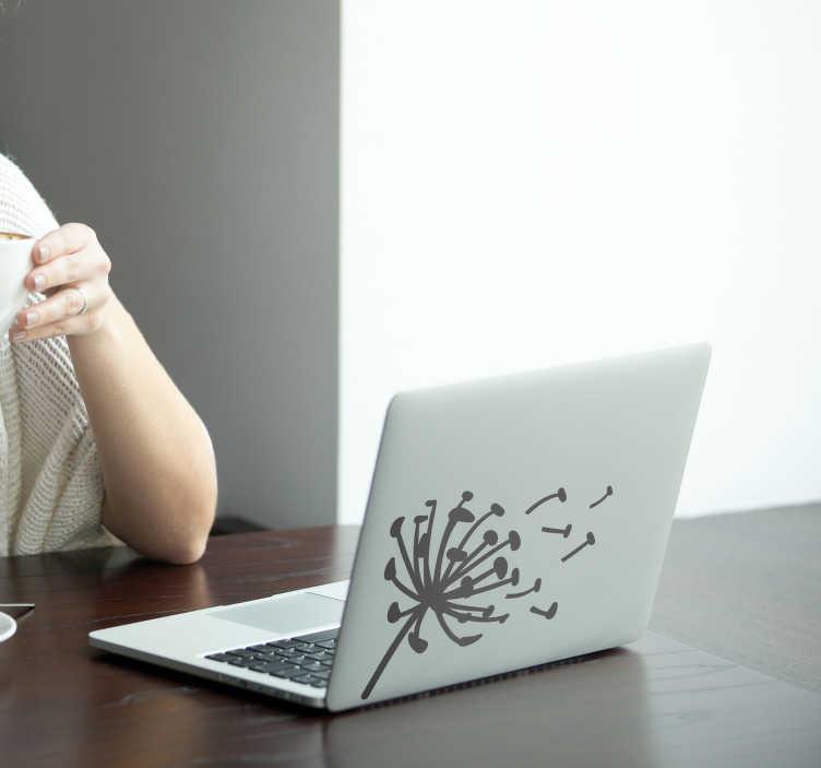 TenStickers. Wandtattoo Blumen Pusteblume Skizze. Verziere dein portables Gerät mit diesem einzigartigen Laptop Blumen Aufkleber, der Heiterkeit und Abwechslung vermittelt. Versiertes Designerteam