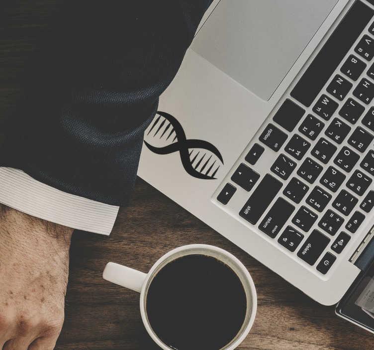 TenStickers. Naklejka na laptopa kod DNA. Idealna naklejka dla fanów nauki! Przedstawia ona kod DNA, który wyróżni Twój laptop spośród innych! Nowe promocje w naszym newsletterze!