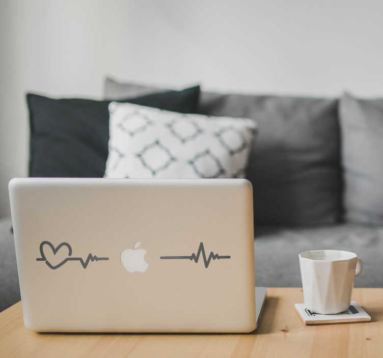 TenStickers. Naklejka na laptopa kardiogram. Naklejka na laptopa, przedstawiająca rytm serca, który również układa się w małe serduszko! Wyprzedaż się kończy, zamów taniej teraz!
