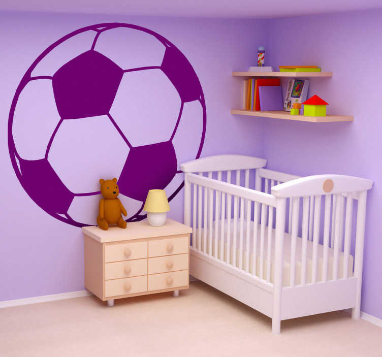 TenStickers. Monochrome Football Kids Sticker. Sports Stickers - Illustration of a football for the young football fans. Ideal for decorating children´s rooms.