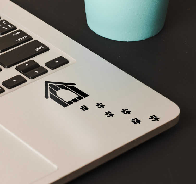 Tenstickers. Fotspår hund bärbar dator klistermärke. Dekorera din bärbara dator med denna dekorativa klistermärke som illustrerar ett hundhus och fotavtryck av en hund. även för fönster och bilar.