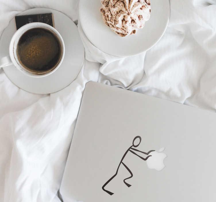 TenStickers. Naklejka na laptopa ludzik z zapałek. Zabawna i delikatna naklejka na laptopa, przedstawiająca ludzika z zapałek, który odpycha od siebie logo! Naklejka na każdą gładką powierzchnię!