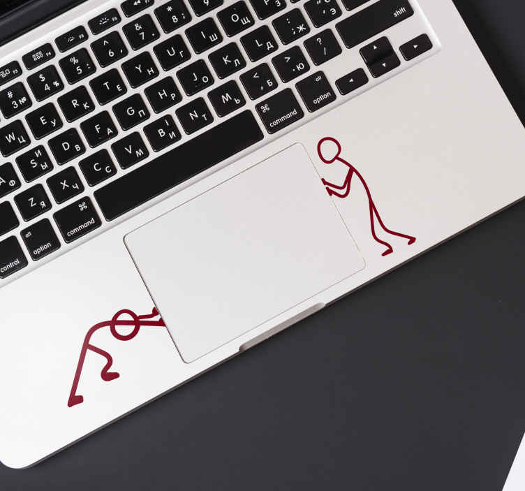 TenVinilo. Vinilo original Matchman empujando. Pegatina adhesiva ideal para colocar en los extremos del panel táctil de tu portátil con el diseño de dos hombres de palo con posición de empujar.