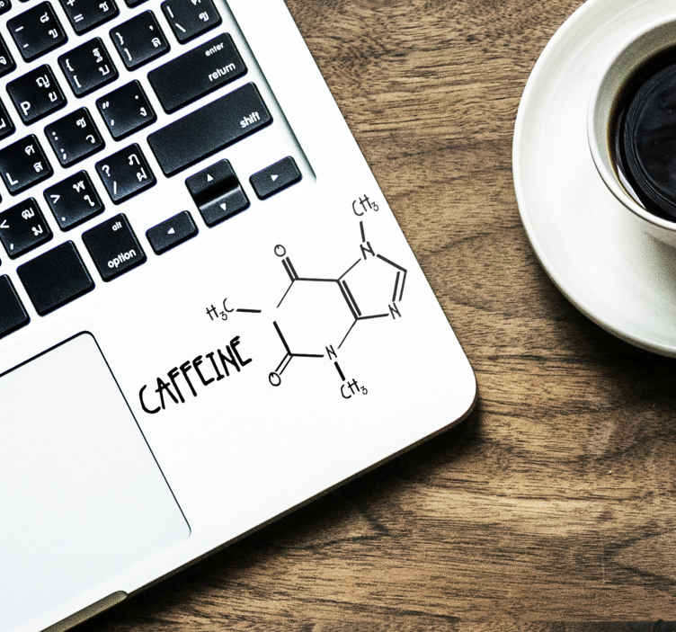 TenStickers. Nalepka za laptop kofein molekule. Okrasite vaš prenosnik s to dekorativno nalepko, ki ilustrira molekulo kofeina. Na voljo v različnih velikostih in v več kot 50 barvah.