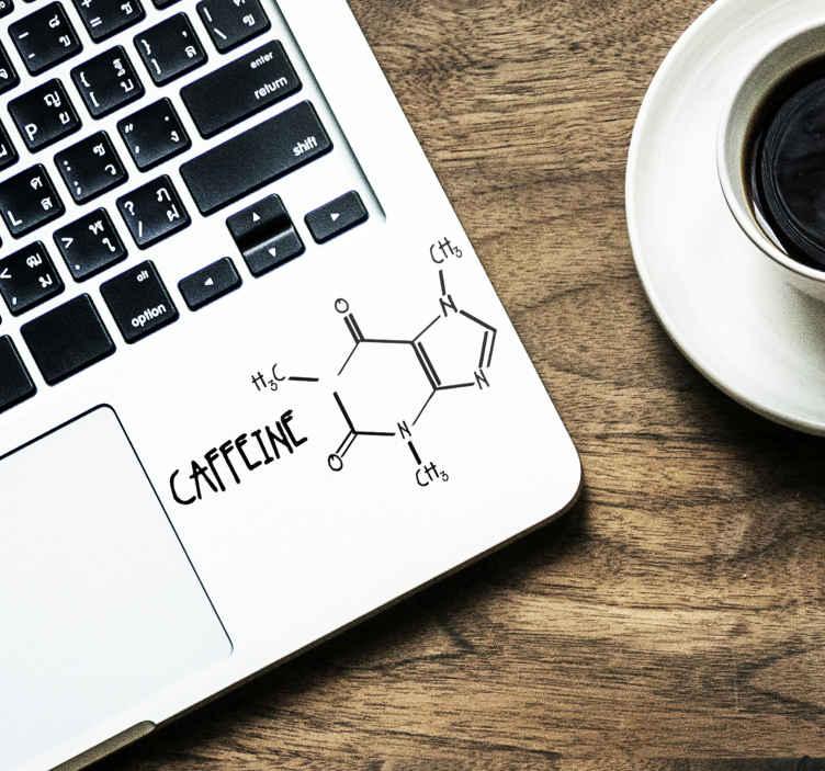 "TenVinilo. Vinilo original Molécula cafeína. Original pegatina adhesiva para portátil o tablet con el diseño de la molécula de la cafeína acompañado del texto ""Caffeine"". Envío Express en 24/48h."