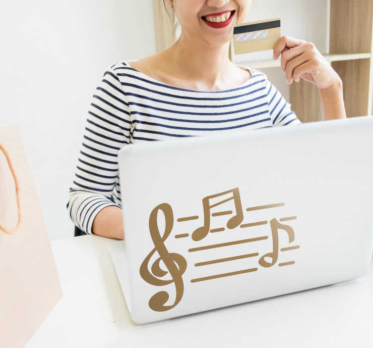 TenStickers. Musical Notes Laptop Sticker. Do you love music? Then this laptop decal might just be perfect for you! Extremely long-lasting material.