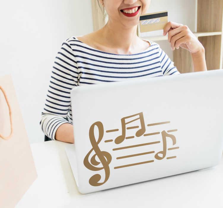Tenstickers. Musikk notater bærbar klistremerke. Dekorere den bærbare datamaskinen med denne dekorative klistremerket som illustrerer ulike musikalske notater. Finnes i forskjellige størrelser og i mer enn 50 farger.