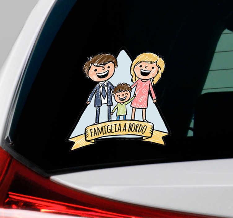 """TenStickers. Adesivo per auto famiglia a bordo. Vuoi personalizzare il tuo veicolo? Potrai farlo con il nostro adesivo auto, con l'immagine di una famiglia e la scritta """"famiglia a bordo"""""""