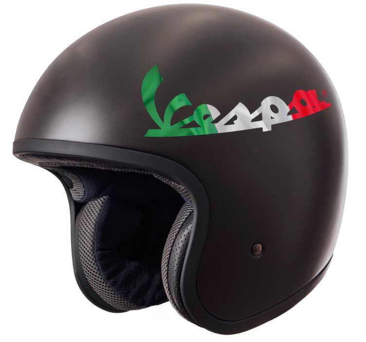 """TenStickers. Adesivo per casco moto Vespa. Anche te sei un fan dell'iconica Vespa, ormai un simbolo dell'Italia? Allora scopri questo adesivo con la scritta """"Vespa"""" e con i colori dell'Italia!"""