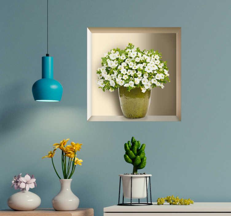 TenVinilo. Vinilo pared estantería con planta 3D. Original vinilo adhesivo formado por un planta de pequeñas flores blancas colocada sobre un hueco con efecto 3D. Vinilos Personalizados a medida.