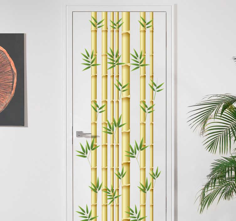TenVinilo. Vinilo para puerta cañas bambú. Original vinilo adhesivo para puerta con el diseño de unas cañas de bambú acompañas de pequeñas hojas. Compra Online Segura y Garantizada.