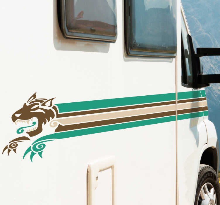TenStickers. Sticker lijnen voor caravan. De volgende voertuig sticker bestaat uit drie lijnen in verschillende kleuren die uiteindelijk aflopen in het hoofd van een draak. Dagelijkse kortingen.