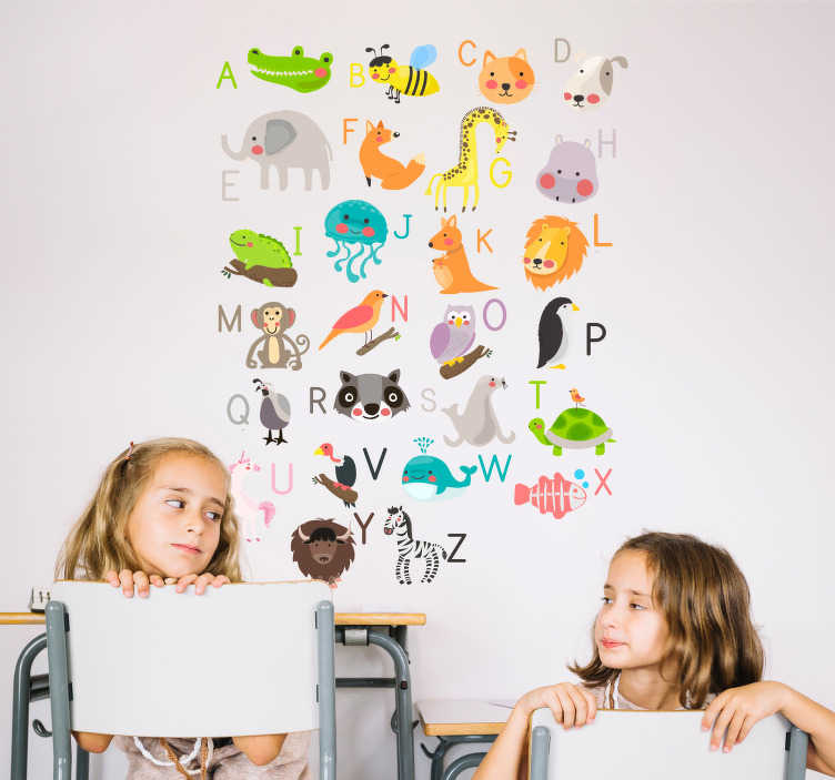 TenStickers. Animal Alphabet Wall Art Sticker. Help your child learn the alphabet with this brilliant wall art sticker! Available in 50 colours.