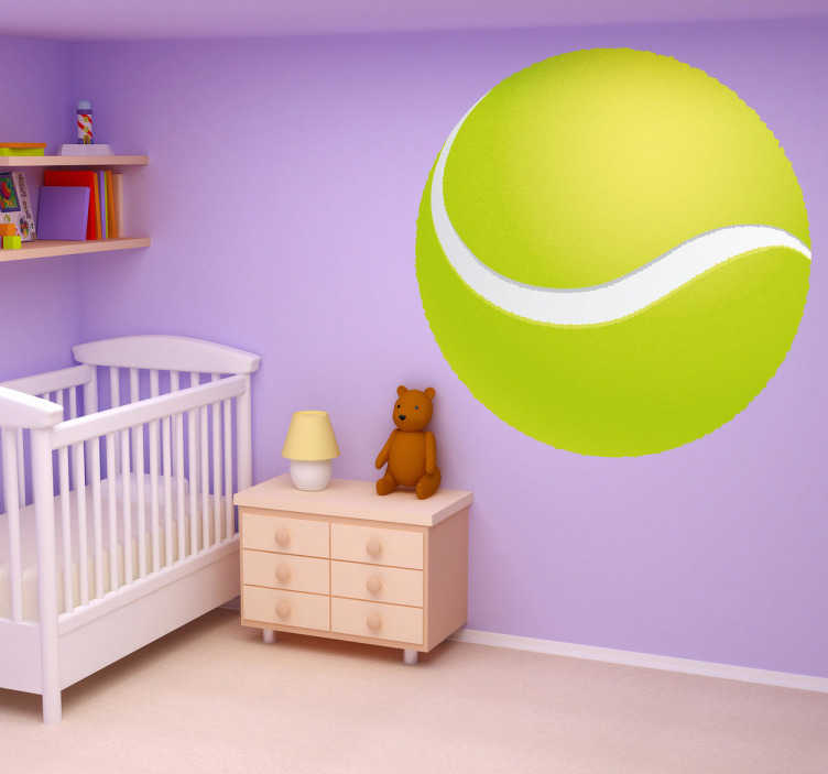 TenStickers. Sticker kinderen tennisbal. Is je kind dol op tennis? Dan is deze muursticker van een tennisbal een leuk idee voor de decoratie van zijn/haar slaapkamer.