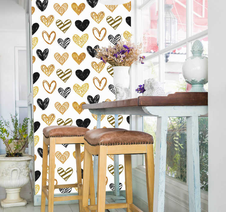 TenStickers. Pattern hearts valentine´s day  wall decal. Valentine's day wall sticker decoration created with patterned hearts prints in different. Easy to apply and available in different size options.