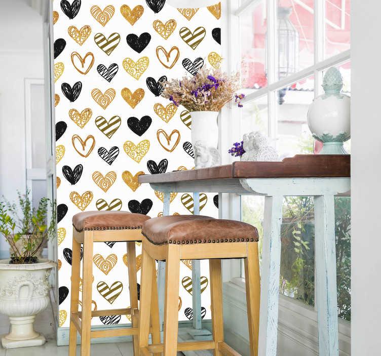 TenStickers. Slaapkamer muursticker hart patronen. Decoratieve muursticker die een collectie harten met patronen op een witte achtergrond illustreert. Express verzending 24/48u.