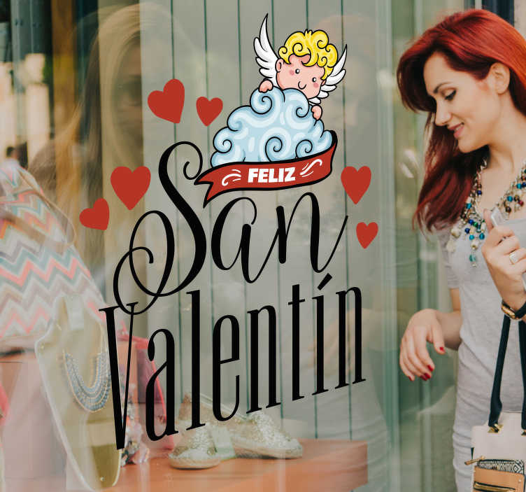 TenVinilo. Vinilo empresa Cupido San Valentín. Original y romántica pegatina adhesiva con temática de San Valentín ideal para un escaparate de tienda. +10.000 Opiniones satisfactorias.