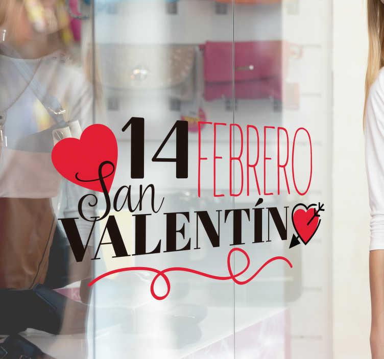 TenStickers. 情人节那天情人节那天墙装饰. 情人节与文本的贴纸和心脏形状设计装饰企业商店前面。易于应用且有不同尺寸。