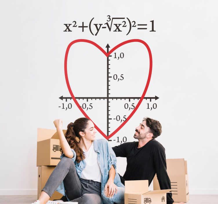 TenStickers. Naklejka na ścianę serce i wzór matematyczny. Naklejka przedstawiająca serce i wzór matematyczny! Idealna do salonu dla miłośników matematyki! Ponad 50 dostępnych kolorów!