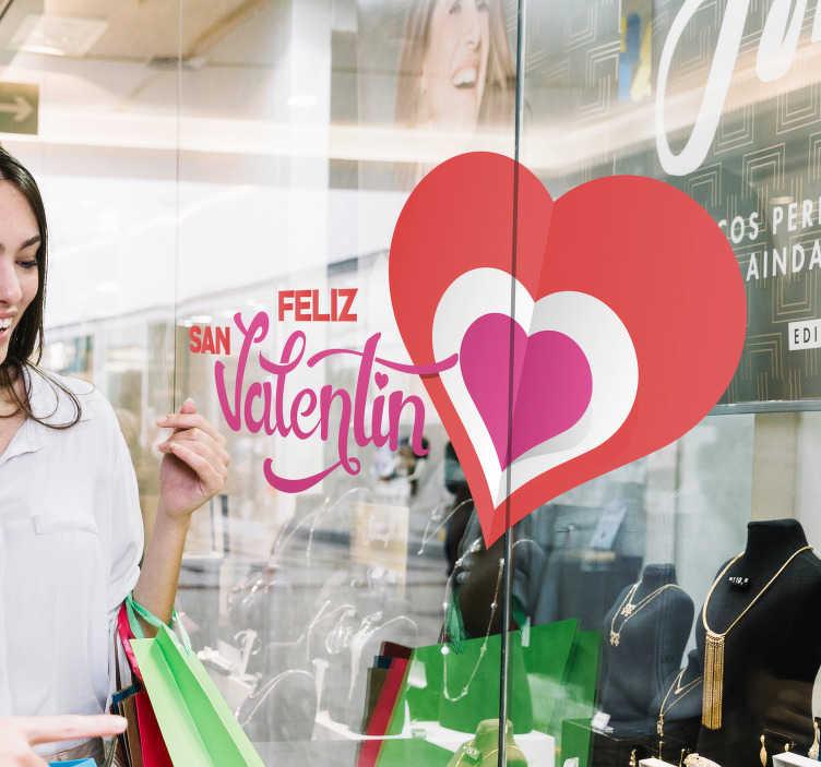 """TenVinilo. Vinilo empresa Feliz día de los enamorados. Pegatina adhesiva formada por el texto """"Feliz San Valentin"""" y acompañada de la ilustración de tres corazón. Vinilos Personalizados a medida."""