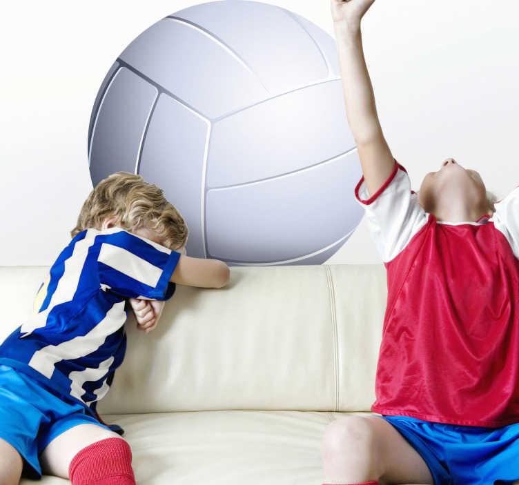 TenStickers. Sticker kinderen volleybal. Muursticker van een witte bal voor het spelen van volleybal! Deze wanddecoratie ook zeer geschikt voor de kinderkamer.