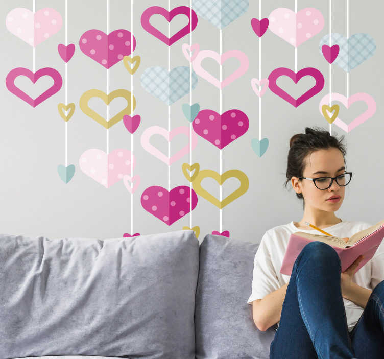 TenStickers. Heart Wreath Wall Sticker. Add some hearts to your home this Valentine´s Day with this fantastic 3D style love wall sticker! Personalised stickers.