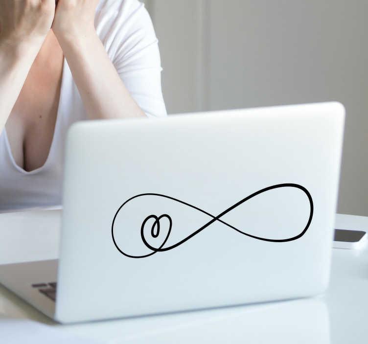 TenVinilo. Sticker de amor love infinito. Original pegatina adhesiva para portátiles y tablets con el diseño de un infinito que forma un pequeño corazón. Envío Express en 24/48h.