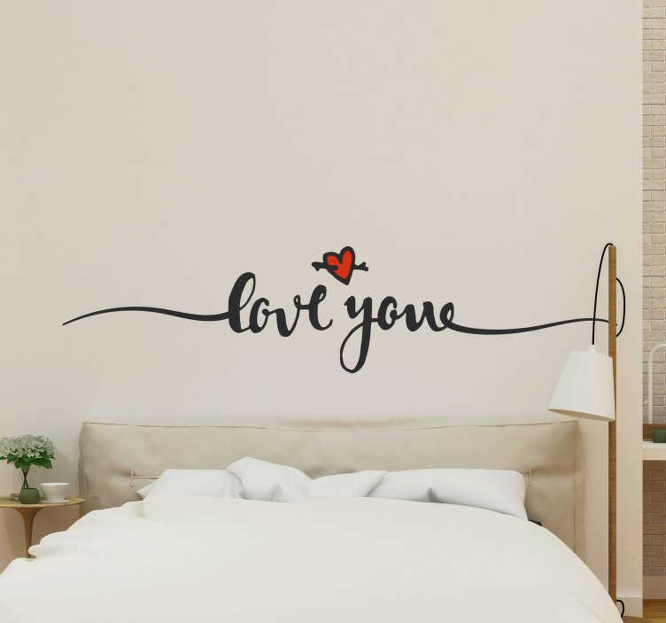"""TenVinilo. Vinilo original frase Love you. Vinilo para cabecero de matrimonio formado por el texto """"Love you"""" acompañado de un pequeño corazón. +50 Colores Disponibles."""