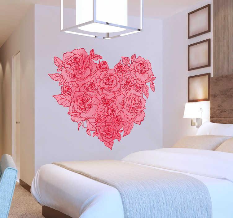 TenStickers. Naklejka na ścianę serce stworzone z róż. Jeśli uwielbiasz róże i szukasz sposobu, aby ozdobić ściany w swojej sypialni, ta naklejka jest dla Ciebie! Przedstawia ona serce zrobione z róż!