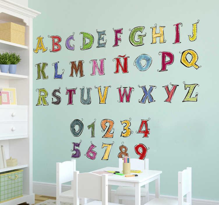 TenVinilo. Vinilo infantil abecedario completo español. Original y colorido mural educativo formado por el abecedario es castellano y los números del 0 al 9. Vinilos Personalizados a medida.