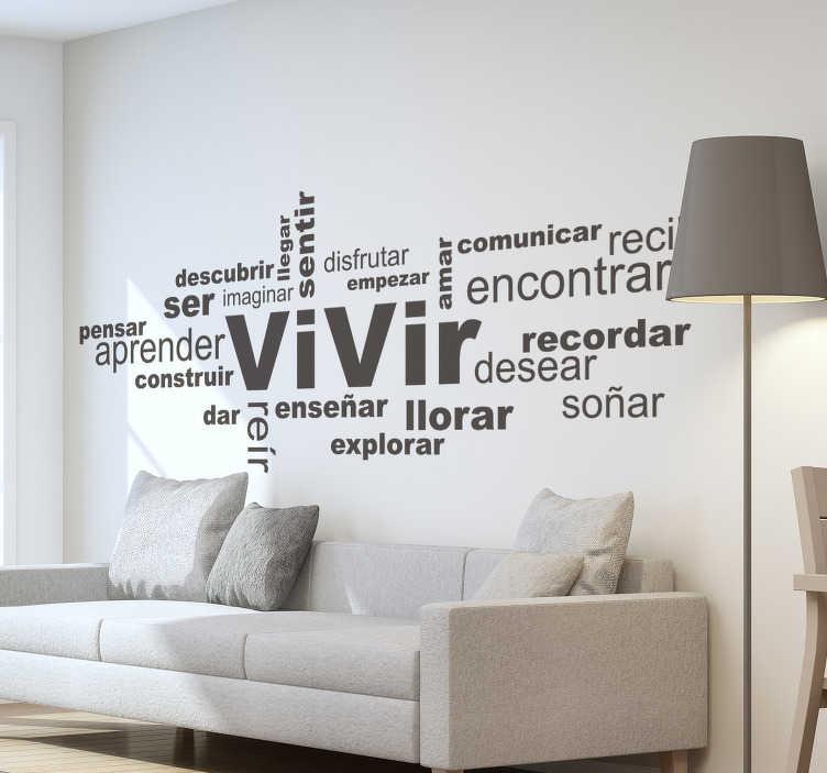 TenVinilo. Vinilo pared conceptos vitales. Original mural adhesivo formado por una serie de conceptos vitales en diferentes tamaños y posiciones. +50 Colores Disponibles.