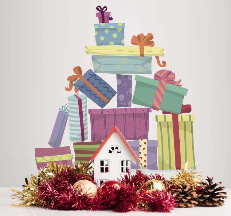 TenStickers. Berg van geschenken muursticker. Decoreer uw woning tijdens de feestdagen met deze muursticker die een stapel geschenken illustreert. Express verzending 24/48u.